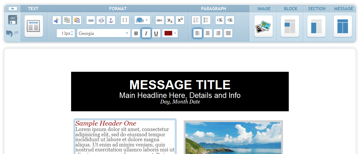 iContact's Email Editor